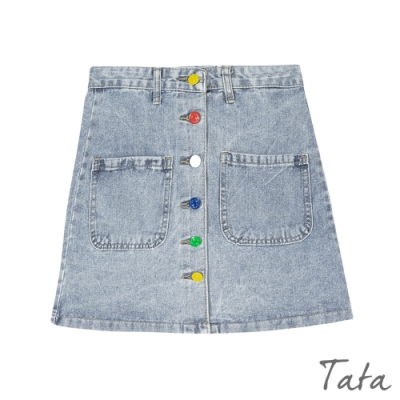 多彩排扣牛仔裙 TATA-(S~XL)