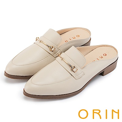 ORIN 復古潮流 金屬飾扣牛皮低跟穆勒鞋-米色