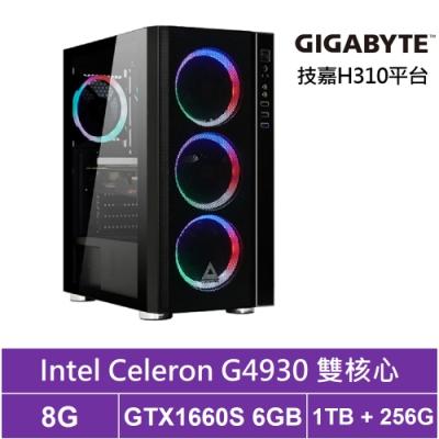 技嘉H310平台[獵妖武神]雙核GTX1660S獨顯電玩機