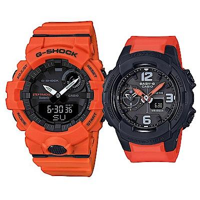 CASIO 帥氣率性橘配黑混搭風格情侶錶(GBA-800-4A+BGA-230-4B)