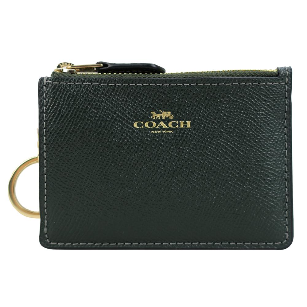 COACH 馬車防刮皮革後卡夾鑰匙零錢包(常春藤綠)