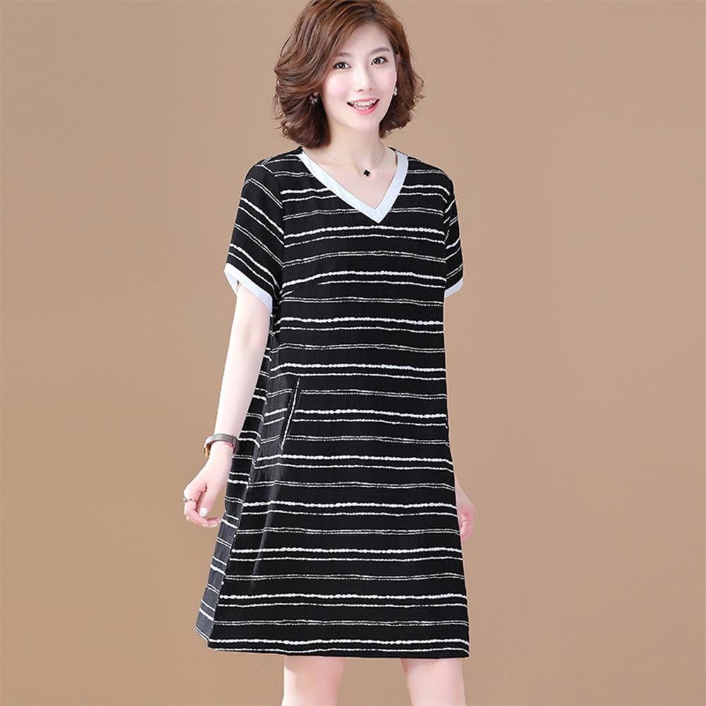初色  V領短袖洋裝-黑條紋-(M-2XL可選)