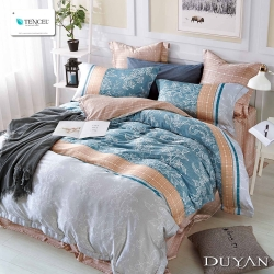 DUYAN竹漾-100%頂級萊塞爾天絲-雙人加大兩用被床包四件組-夏洛特