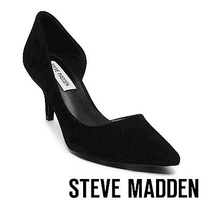 STEVE MADDEN-CAMELOT 絨面尖頭側空跟鞋-絨黑
