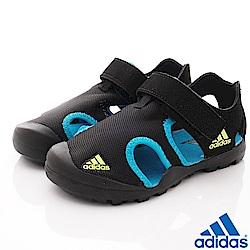 adidas童鞋 護趾超輕涼鞋款 FNI7312黑藍(中小童段)