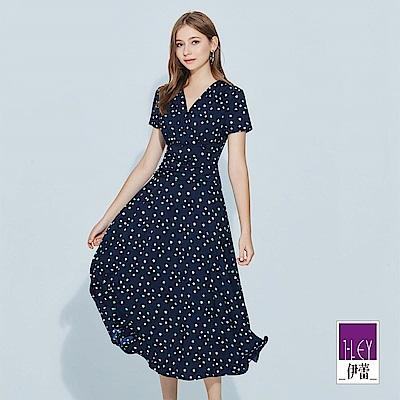 ILEY伊蕾 配色圓點交衩V領長版洋裝(藍)