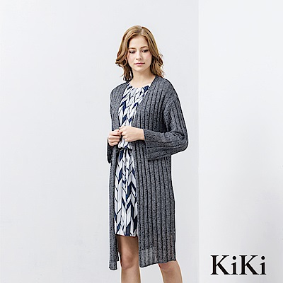 KiKi INLook 透膚開衩落肩針織長版罩衫(黑色)