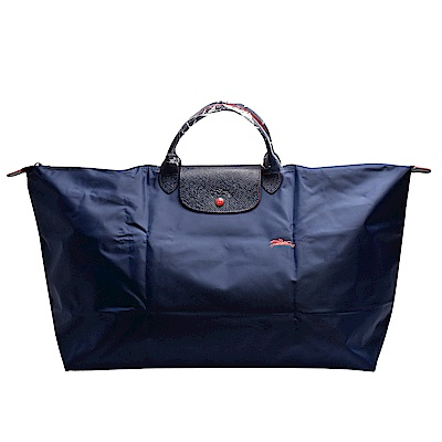 LONGCHAMP Collection刺繡摺疊暗釦/拉鍊短提把尼龍水餃包-XL-海軍藍