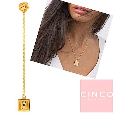 葡萄牙精品 CINCO DYLAN 925純銀鑲24K金硬幣項鍊 方形玫瑰款
