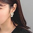圓片綴珍珠圓球耳環-OB大尺碼