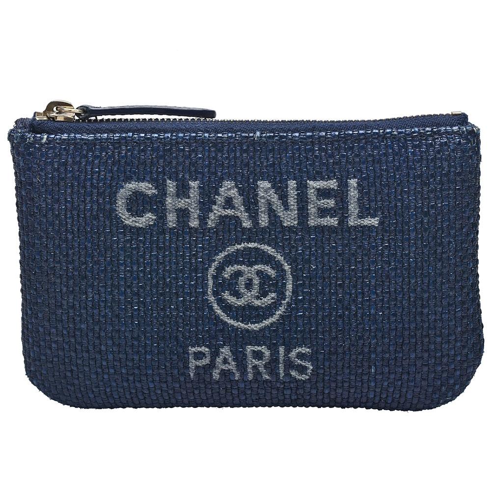 CHANEL 經典雙C LOGO帆布藤織拉鍊零錢包(藍)