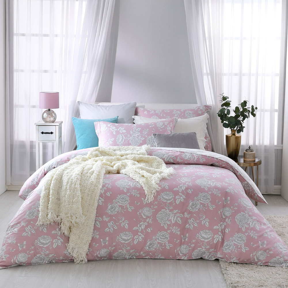 BBL Premium 蝶舞薔薇100%精梳棉印花兩用被床包組(加大)