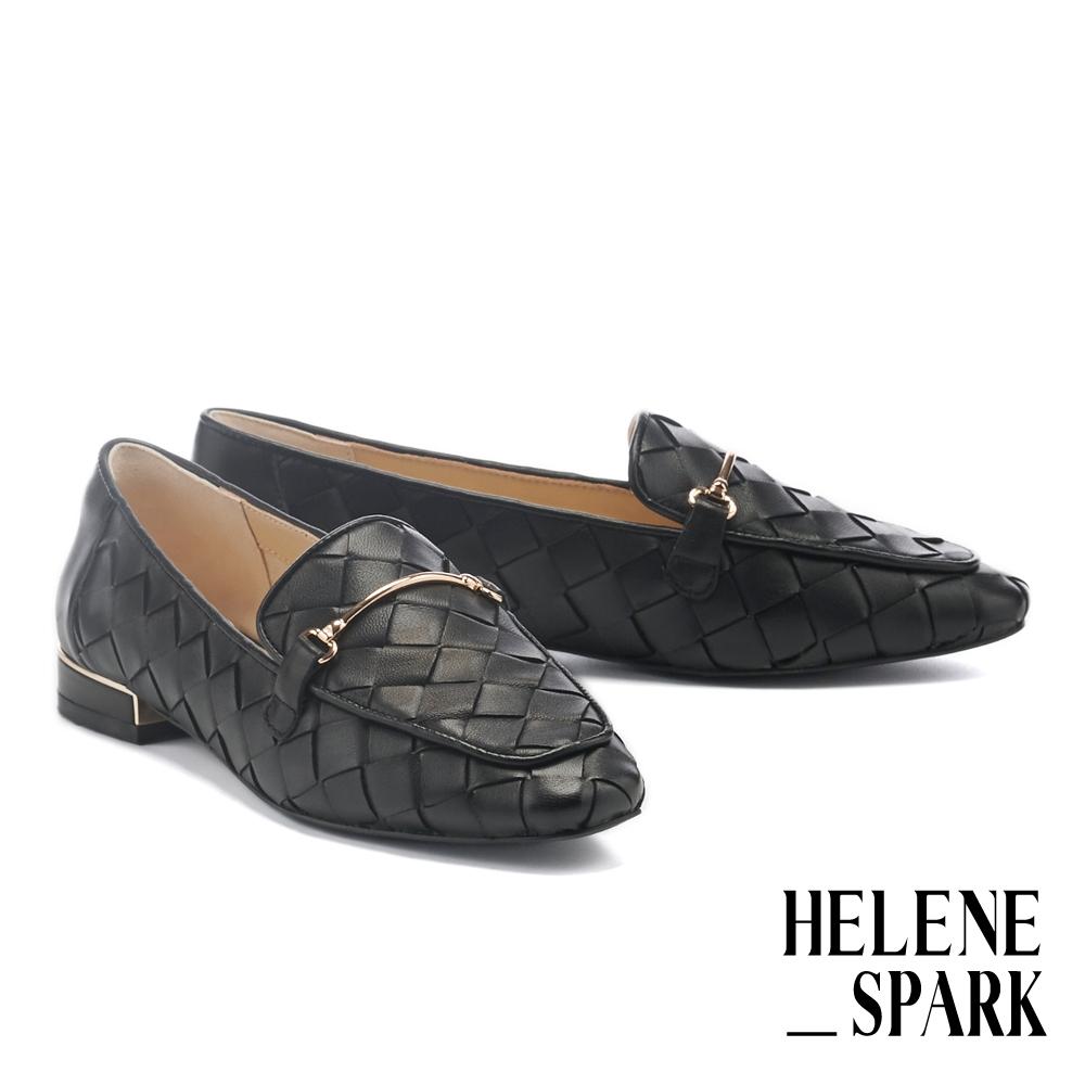 低跟鞋 HELENE SPARK 量感編織金屬長釦羊皮樂福低跟鞋-黑