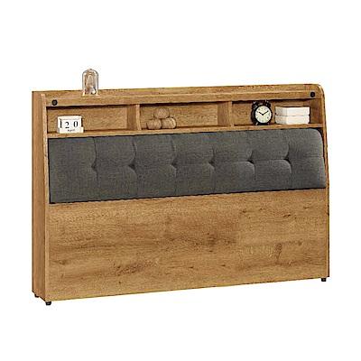 文創集 艾亞倫時尚5尺棉麻布雙人床頭箱(不含床底)-152x27x99cm免組
