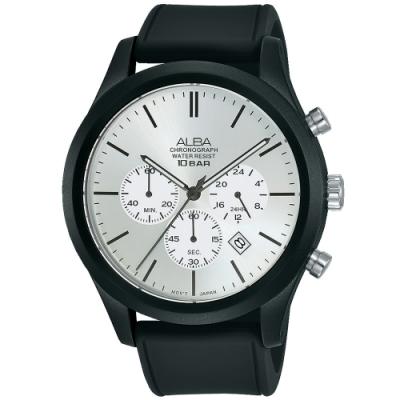 ALBA雅柏 新潮三眼計時運動錶(AT3G23X1)-黑x銀/44mm