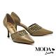 高跟鞋 MODA Luxury 氣質簡約大人感編織側簍空尖頭高跟鞋-綠 product thumbnail 1
