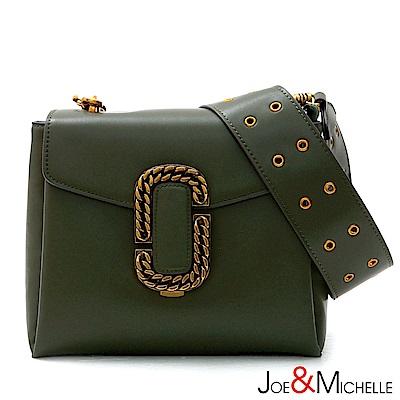 J&M 真皮伊蓮娜寬帶側肩包  橄欖綠