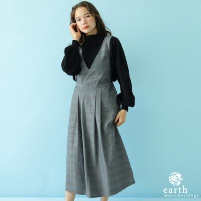 earth music ECOVERO環保素材壓摺連身背心洋裝