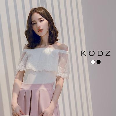 東京著衣-KODZ 甜美浪漫拼接透膚蕾絲一字領上衣-S.M.L(共兩色)