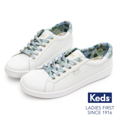 Keds x Rifle Paper Co. 聯名款- ACE繽紛花園皮革休閒鞋 - 白