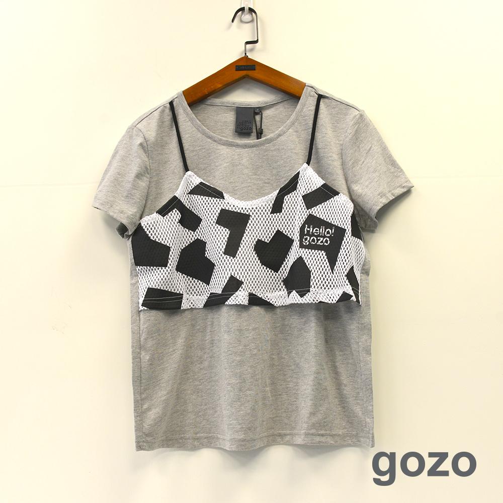 gozo 幾何網紗貼布假二件造型棉T(二色)