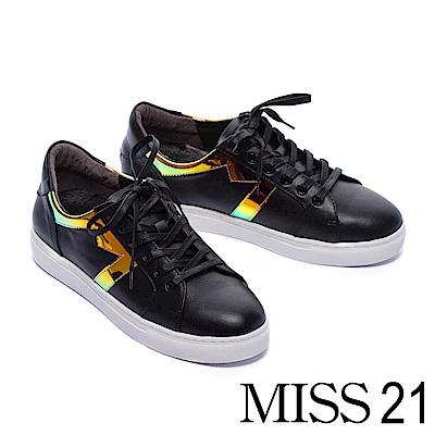 休閒鞋 MISS 21 繽紛幻彩拼接綁帶厚底休閒鞋-黑