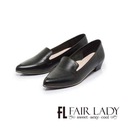 FAIR LADY  7DAYS七日色階立體尖頭剪裁樂福低跟女鞋 經典黑