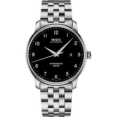 MIDO美度 Baroncelli 永恆系列天文台認證機械錶-黑x銀/42mm