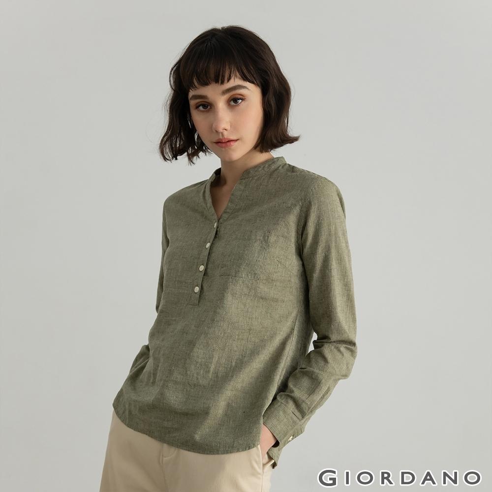 GIORDANO  女裝亨利領棉麻襯衫 - 18 墨綠