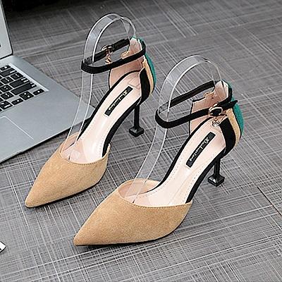 KEITH-WILL時尚鞋館 激推歐美繽紛彩色細跟鞋-深杏色