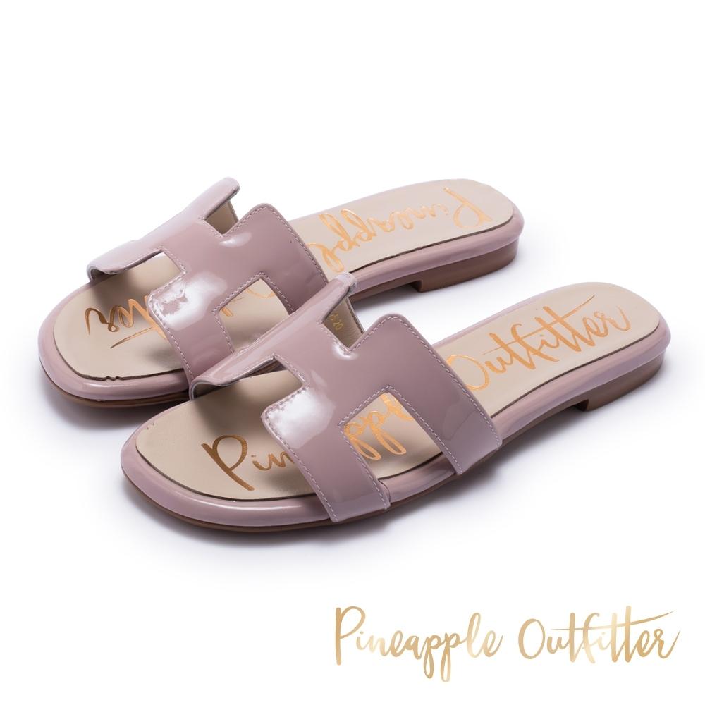 Pineapple Outfitter 奢華時尚亮面平底拖鞋-粉色