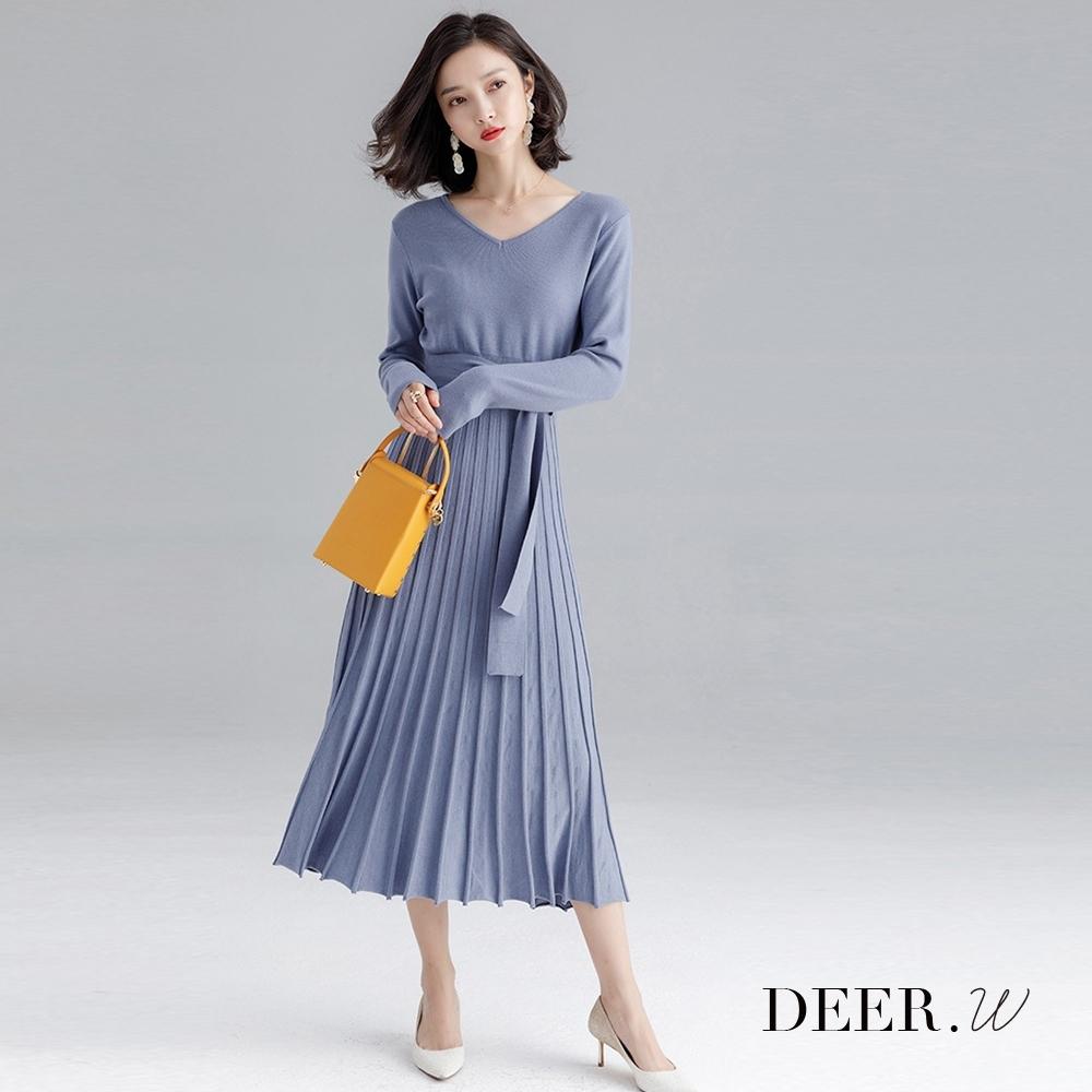 DEER.W V領百褶腰帶針織洋裝(灰藍)
