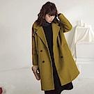 純色毛呢溫暖內鋪棉雙排釦長版翻領大衣/外套-OB大尺碼