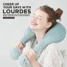 Lourdes貴賓狗限定版毛球弧形溫熱肩頸按摩枕(蒼青藍)