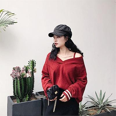 DABI 韓國風多穿法露肩V領毛衣長袖上衣