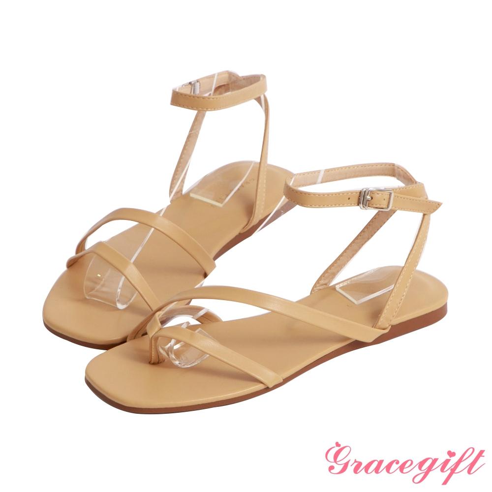 Grace gift-不對稱細帶平底涼鞋 卡其