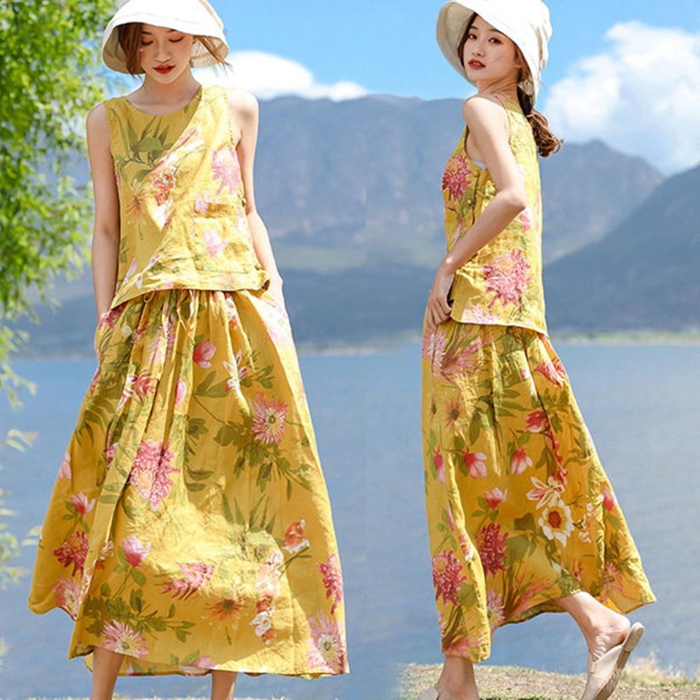 套裝-薑黃印花亞麻背心長裙-T8642-設計所在