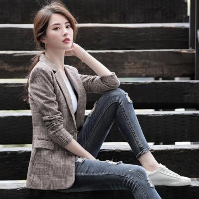 2F韓衣-韓系格紋西裝外套-咖色(M-2XL)