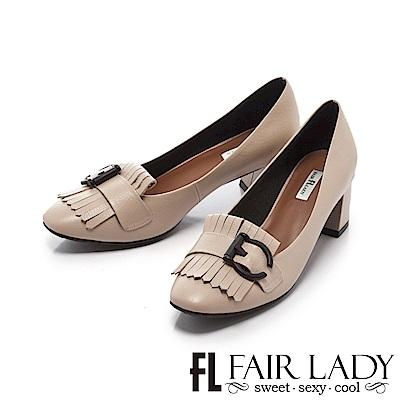 Fair Lady 優雅小姐Miss Elegant 高雅時髦流蘇扣飾粗跟鞋 象牙