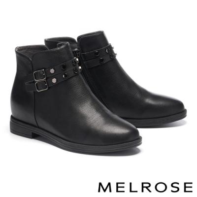 短靴 MELROSE 經典率性鉚釘飾釦全真皮低跟短靴-黑