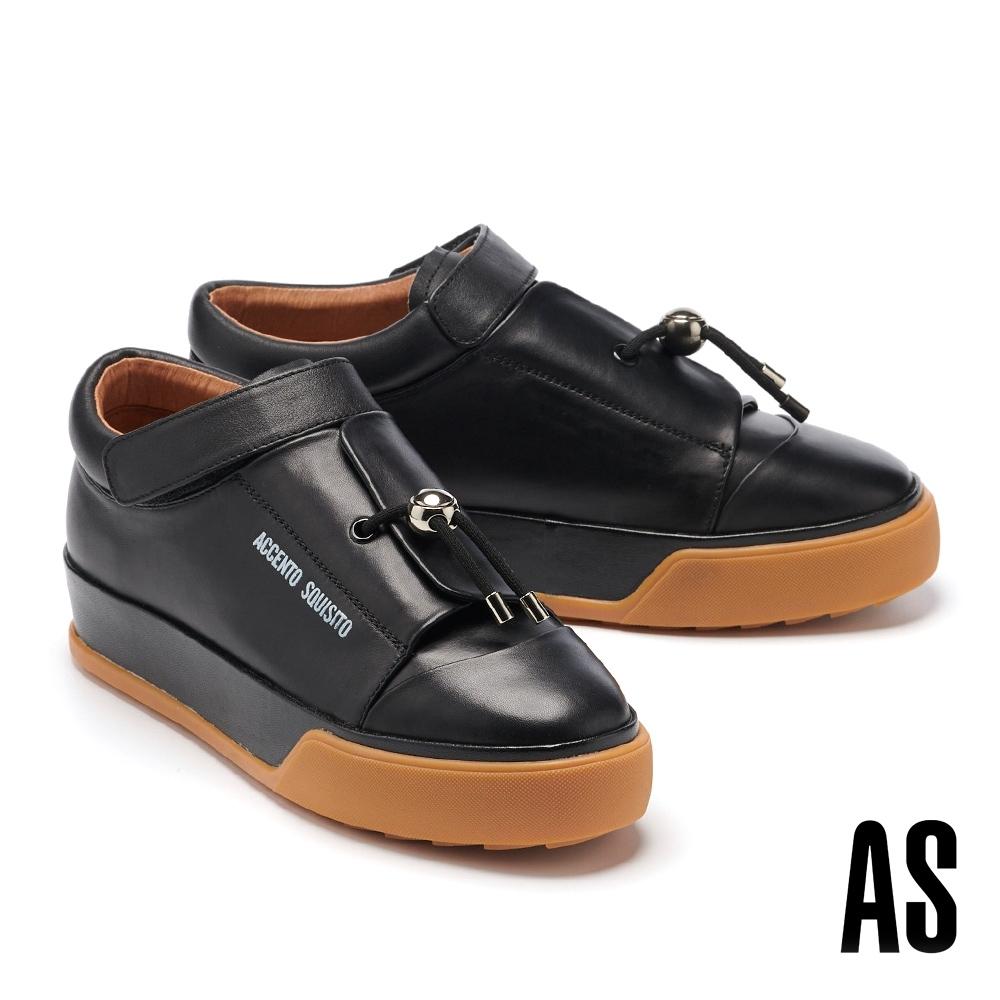 休閒鞋 AS 街頭潮流金屬釦鬆緊鼓繩小牛皮厚底休閒板鞋-黑