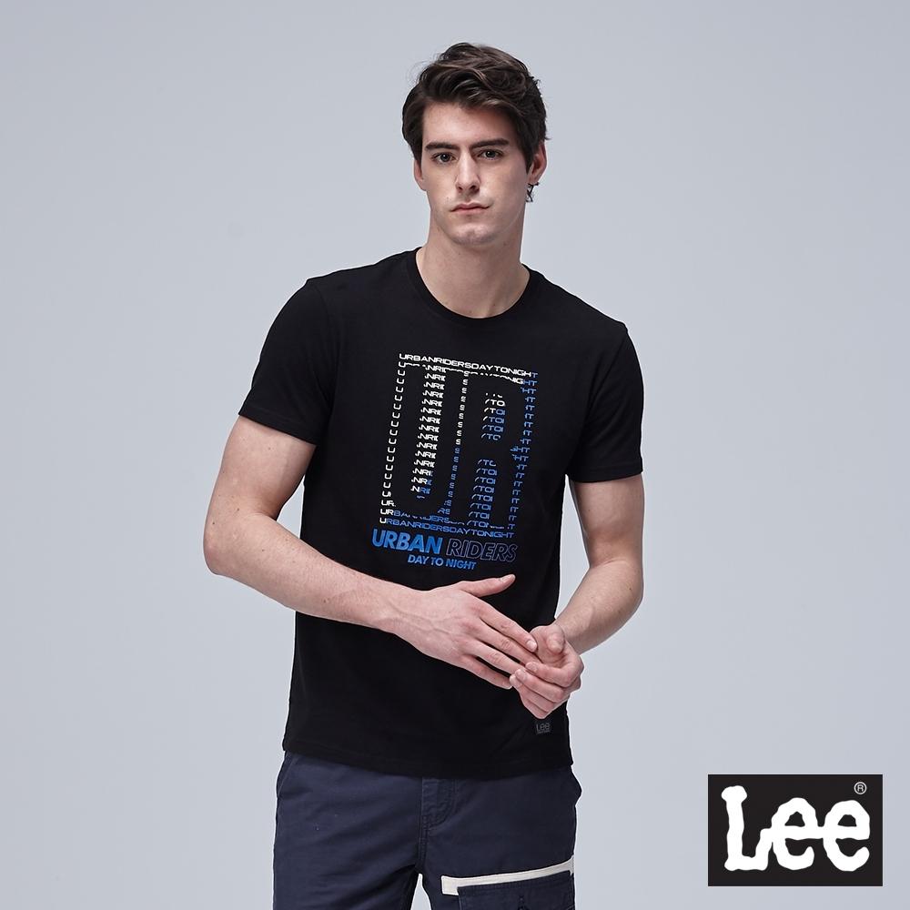 Lee短袖T恤 文字拼圖印刷設計-黑-男