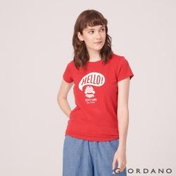 GIORDANO 女裝SUN AND SEA系列印花短袖T恤-12 美國麗人紅
