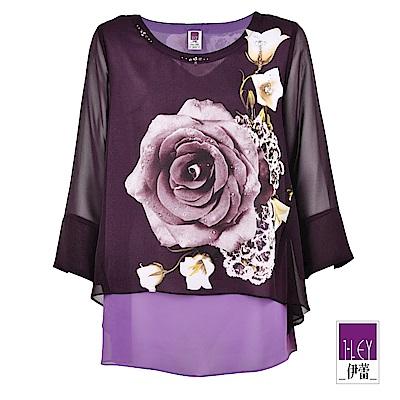 ILEY伊蕾 玫瑰印花層次寬版雪紡上衣(紫)