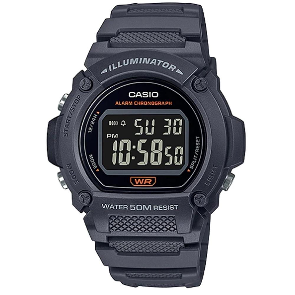 CASIO 復古風造型經典色圓形數位休閒錶-灰黑(W-219H-8B)/47mm