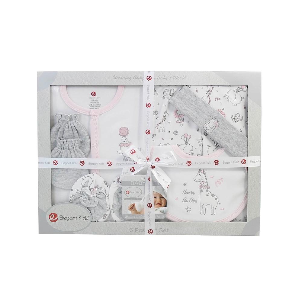 美國Elegant kids-粉色動物園6件式彌月禮盒