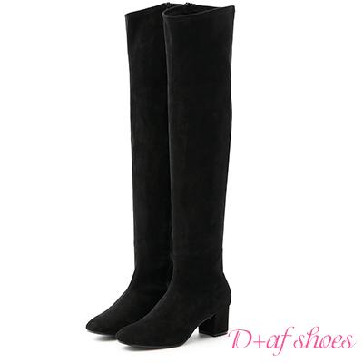 D+AF 人氣滿載.顯瘦感絨料中跟膝上長靴*黑