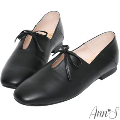 Ann'S超柔軟綿羊皮-芭蕾蝴蝶結兩穿穆勒平底便鞋-黑