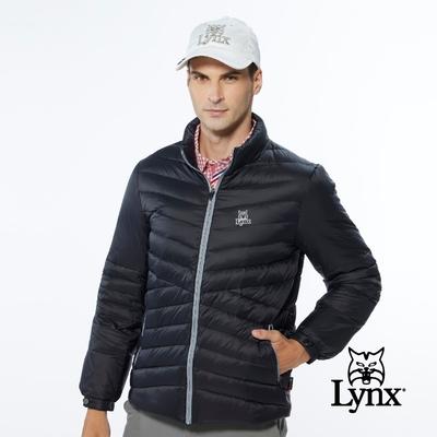 【Lynx Golf】男款保暖羽絨山貓織標LOGO夾標設計長袖外套-黑色