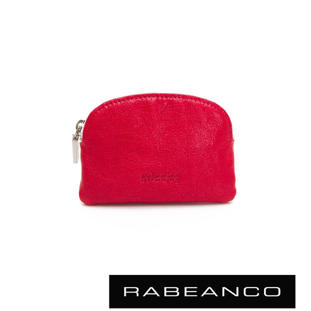 RABEANCO 迷色彩羊皮系列亮彩拉鍊零錢包 紅